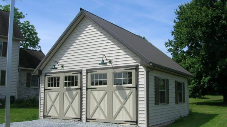 white pole barn garage double doors