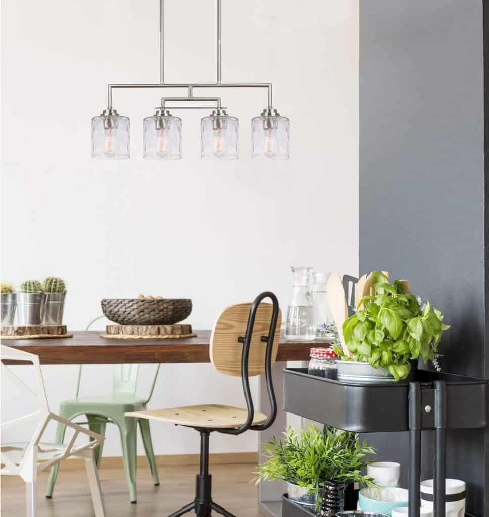 Modern Row Lights with Hammered Glass Shades