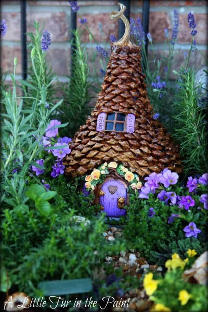 Fairy House from Gourd and Pinecones