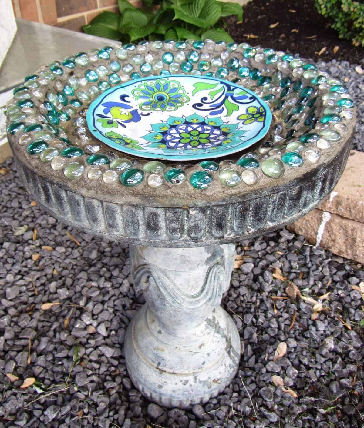 The Glass Gems Concrete Bird Bath