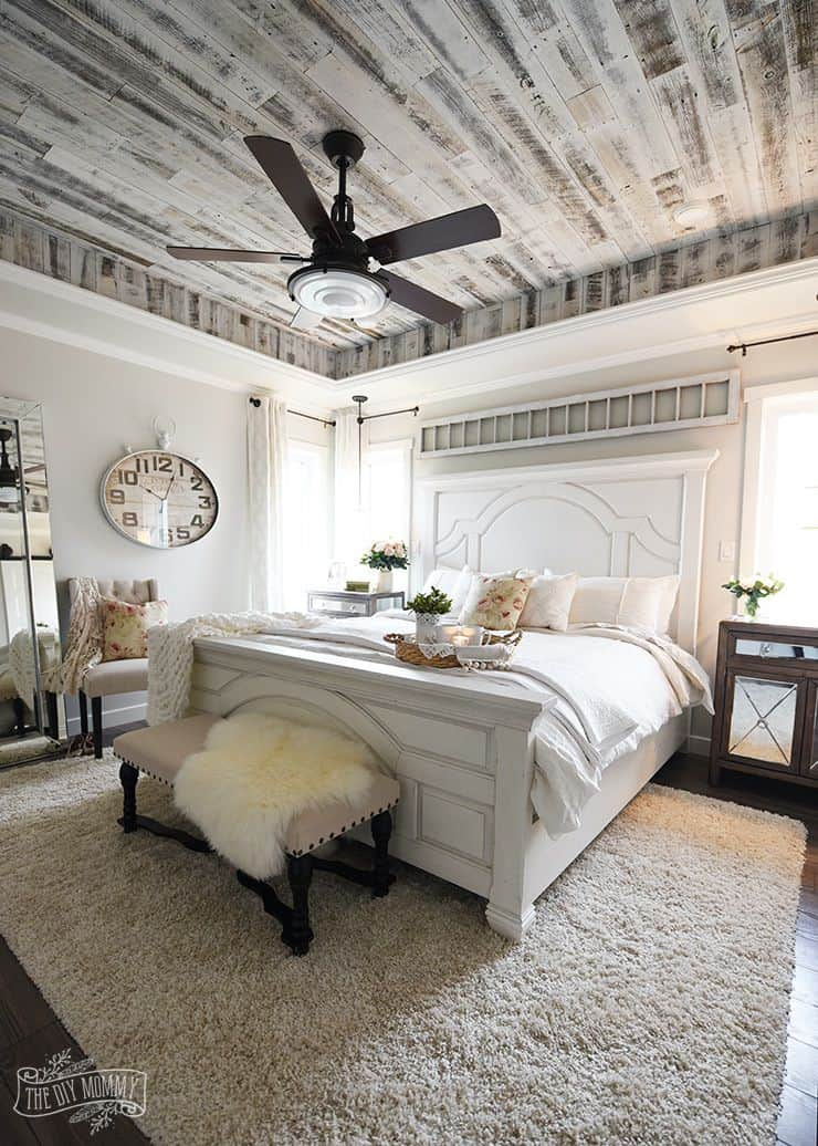 White Farmhouse Master Bedroom