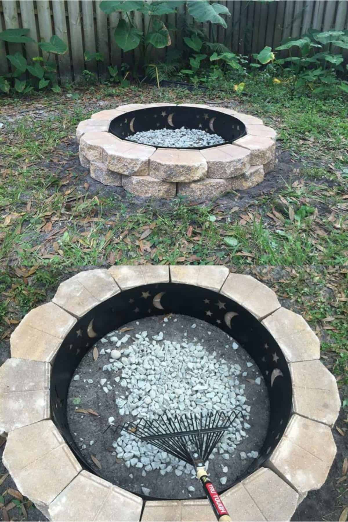 A Fire Pit With Metal Ring