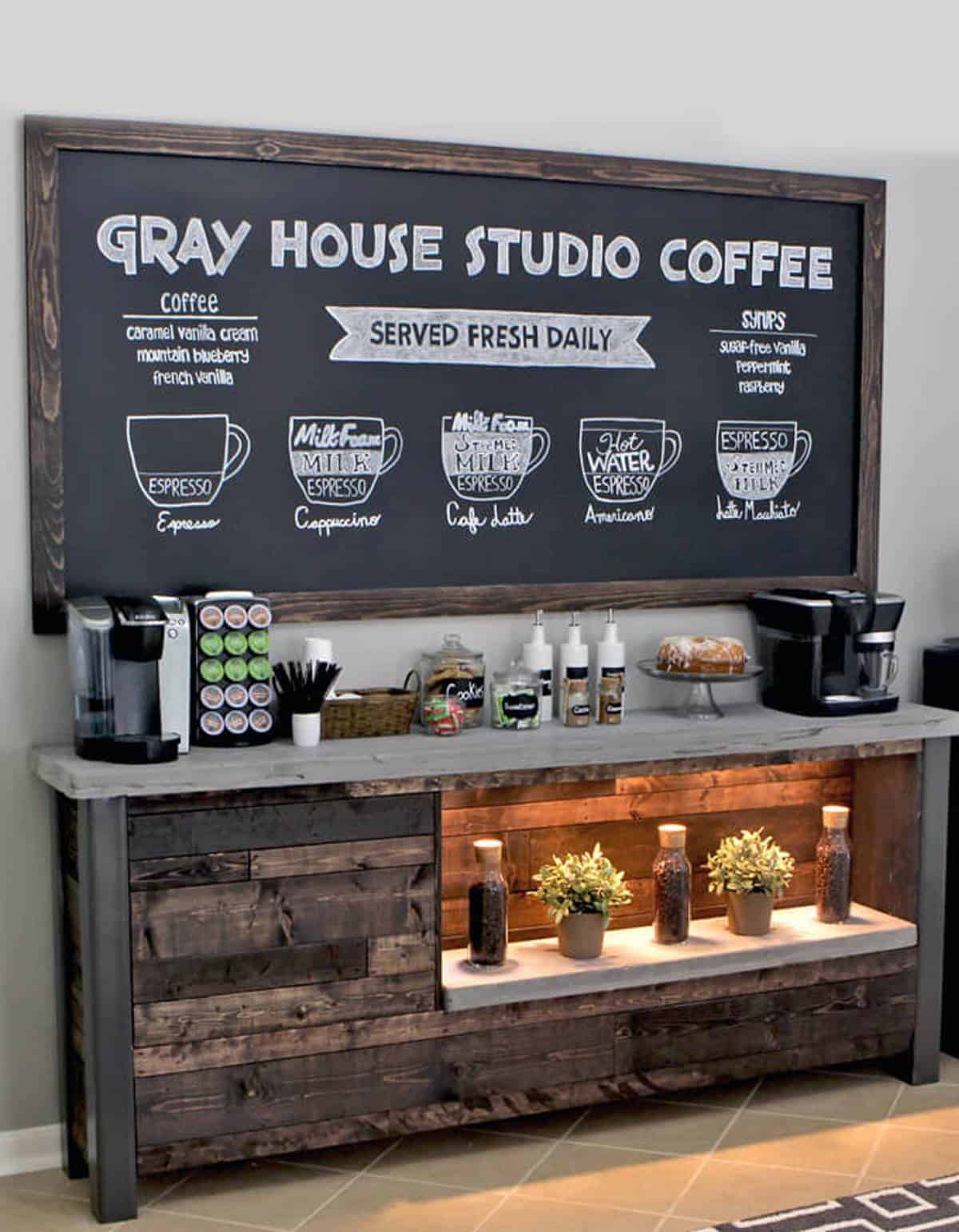 Rustic, Homemade Coffee Bar Cabinet