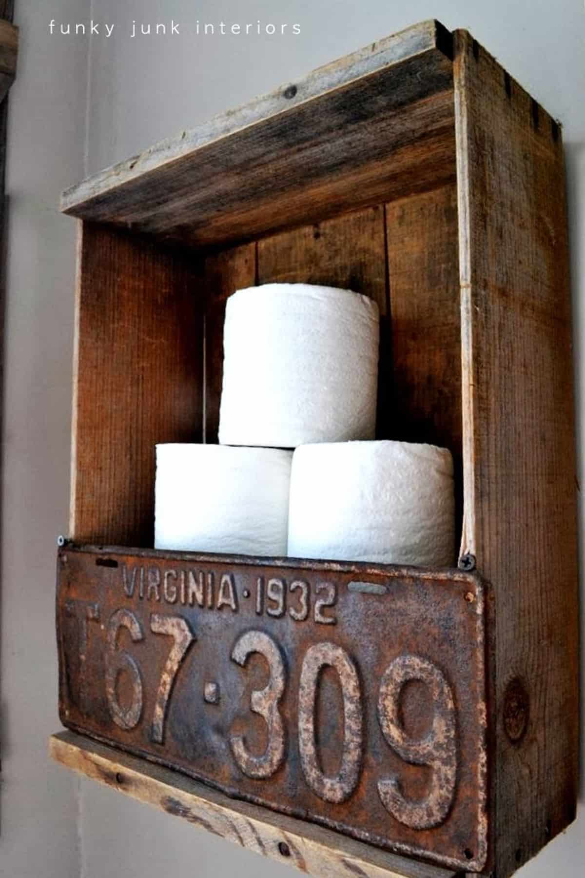 Rustic Toilet Paper Holder with License Plate