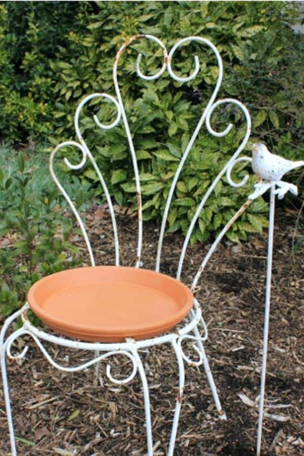 Recycled Chair Bird Bath
