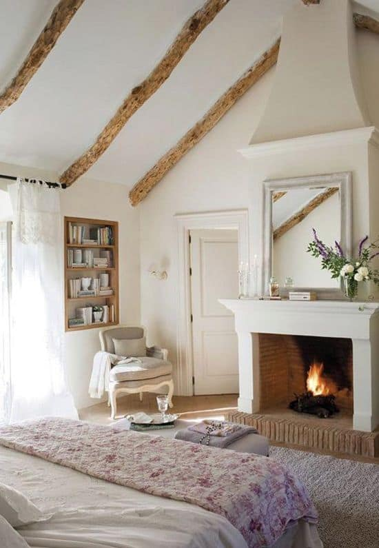 A Wood Burning Fireplace As Detail
