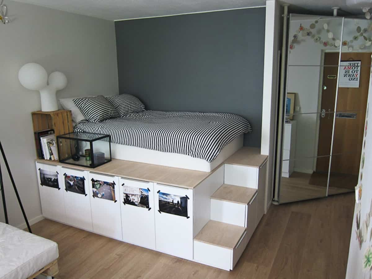 High Platform Bed with Large Storage Space