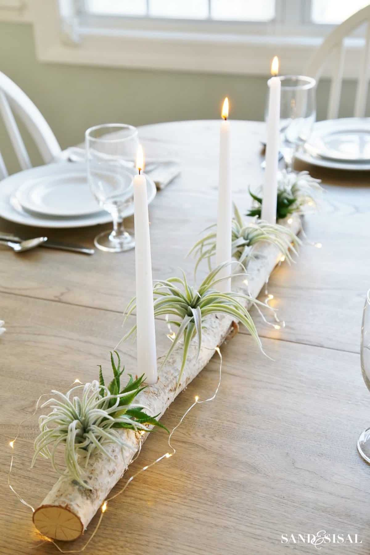The Romantic Birch Log Candle Holders