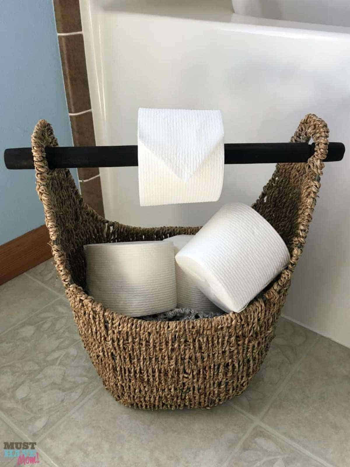 Toilet Paper Holder in a Basket
