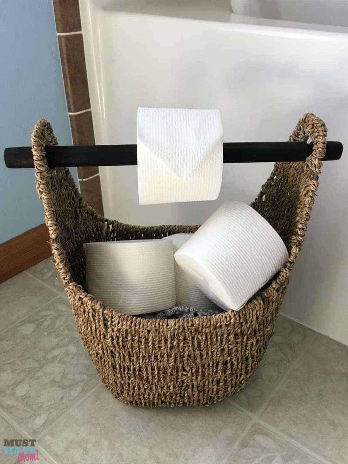 Toilet Paper Holder in a Basket