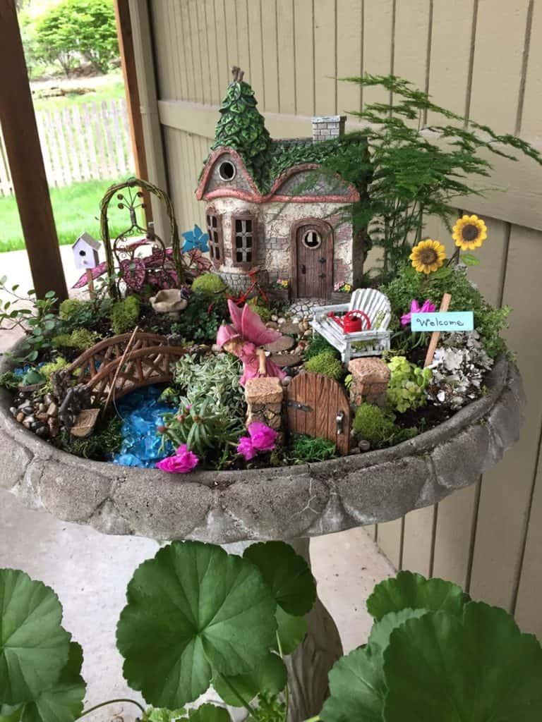 Fairy Garden in a Birdbath