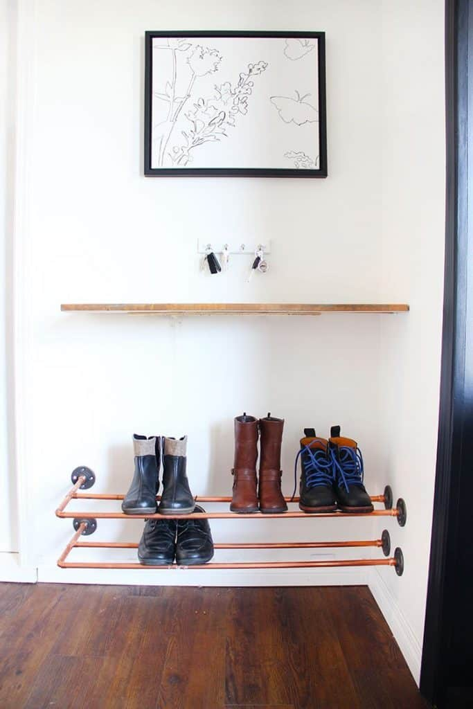 Shoe Rack from Copper Pipes