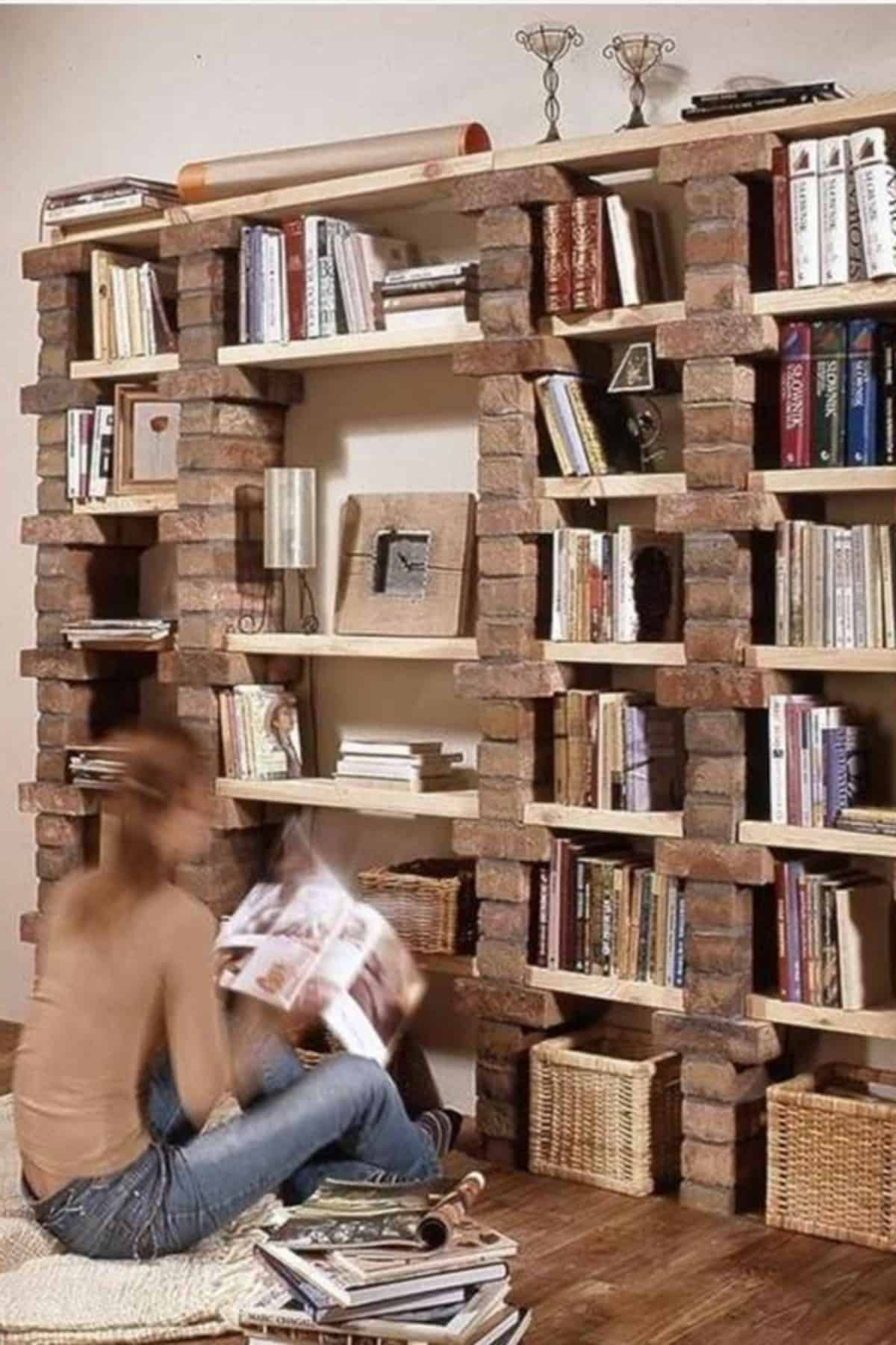 DIY Brick Bookshelf