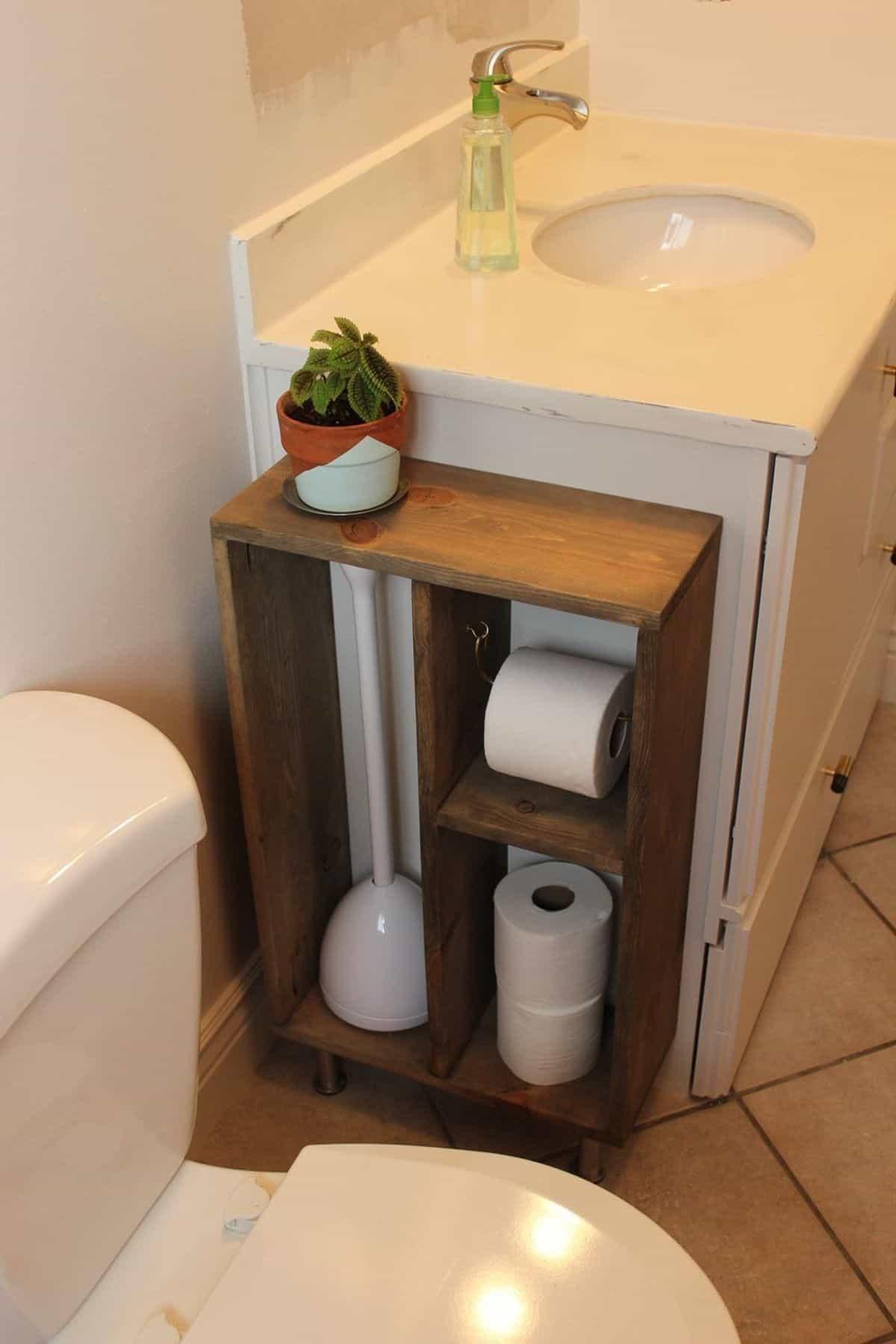 Toilet Paper Storage with Plunger Shelf