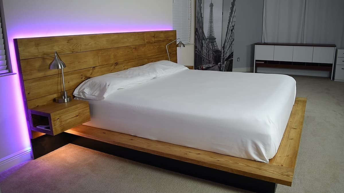 Floating Bed with Nightstands and Lamps