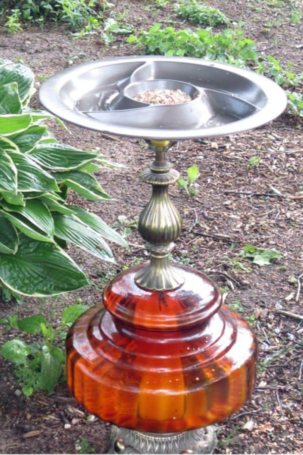 DIY Vintage Lamp Bird Bath