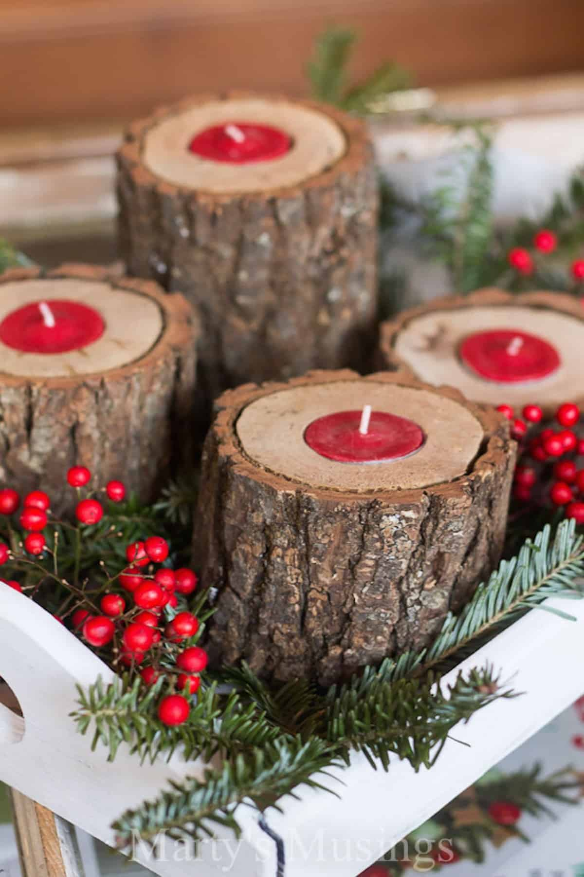 The Rustic Wood Candle Holder