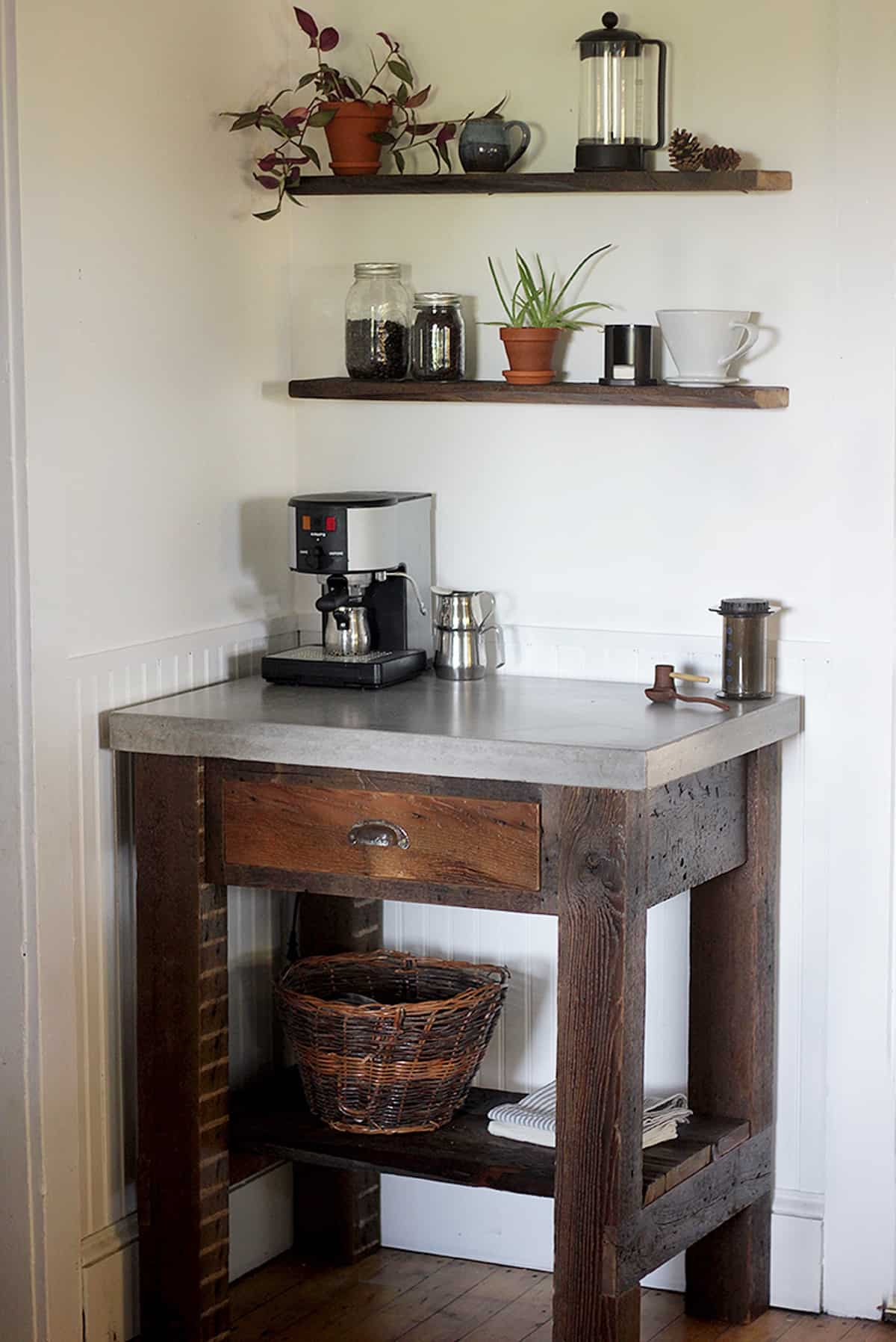 Wooden Coffee Bar Table with Concrete Top
