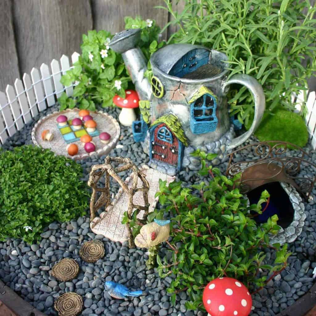 Fairy Garden with Watering Can House