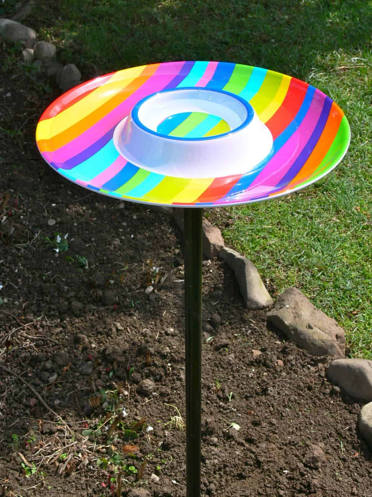 DIY Rainbow Bird Bath