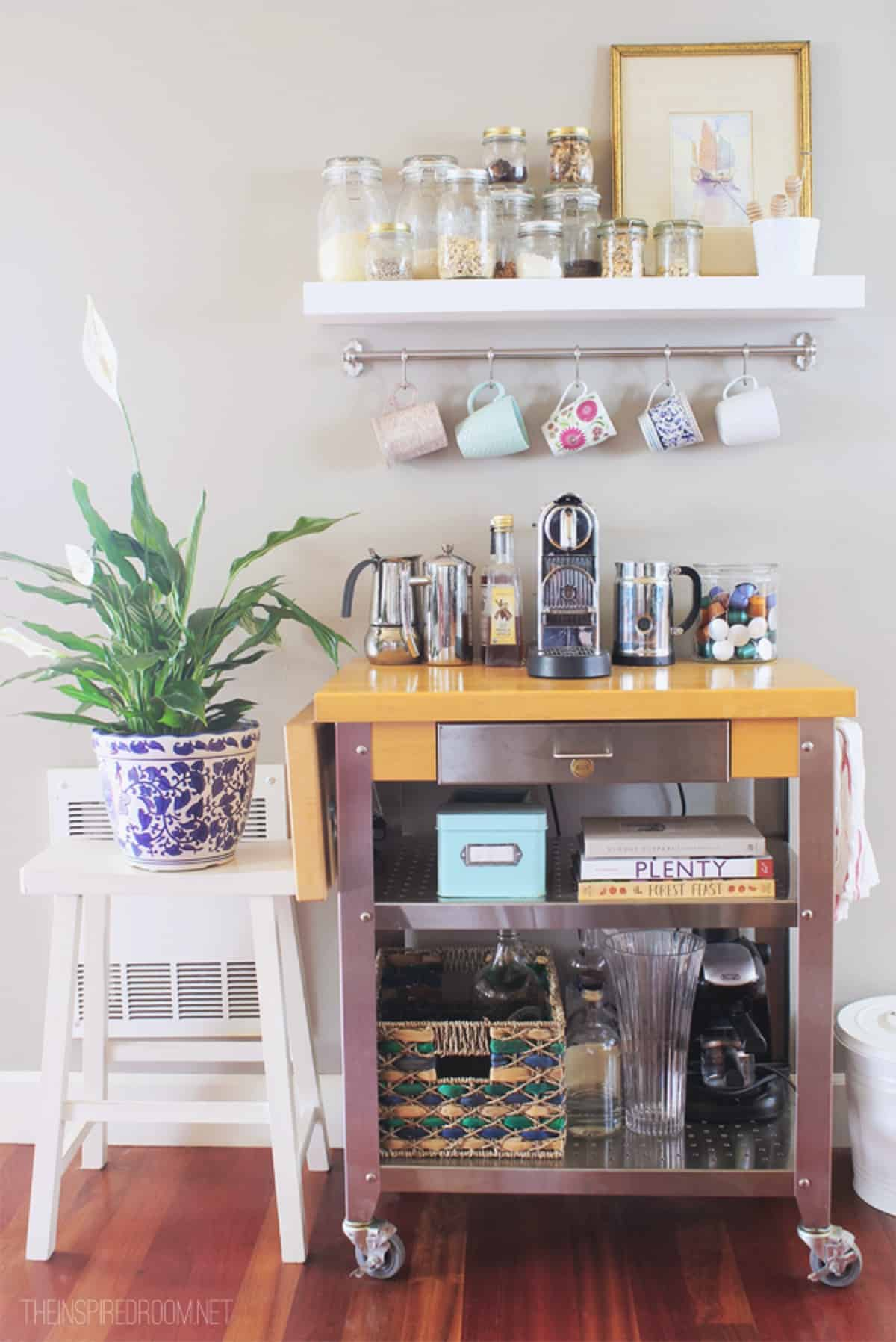 Unique Coffee Cart with White Shelf