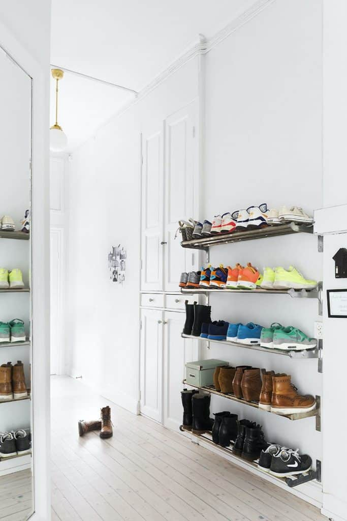 Floating Metal Racks in the Mudroom