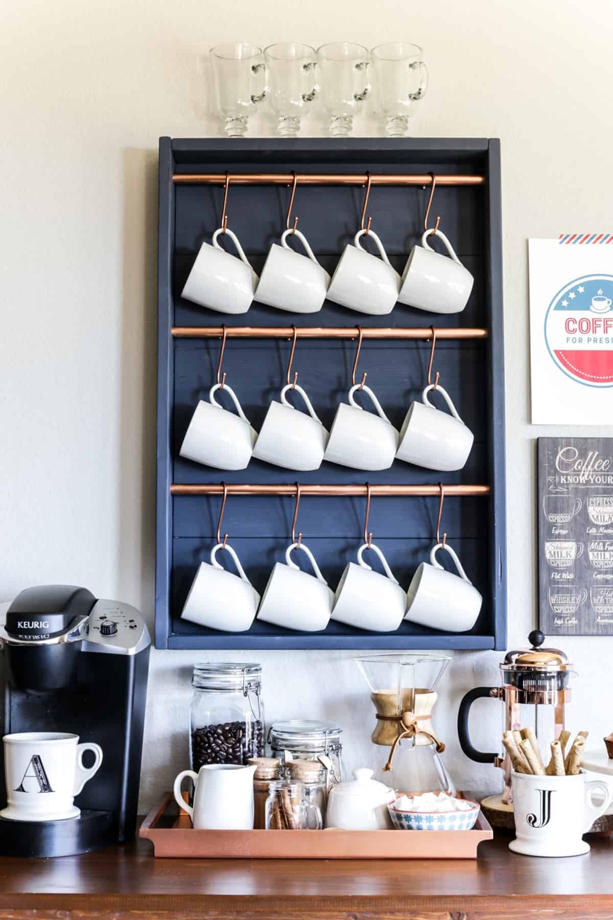 "Coffee Station with ""Hook Shelf"""