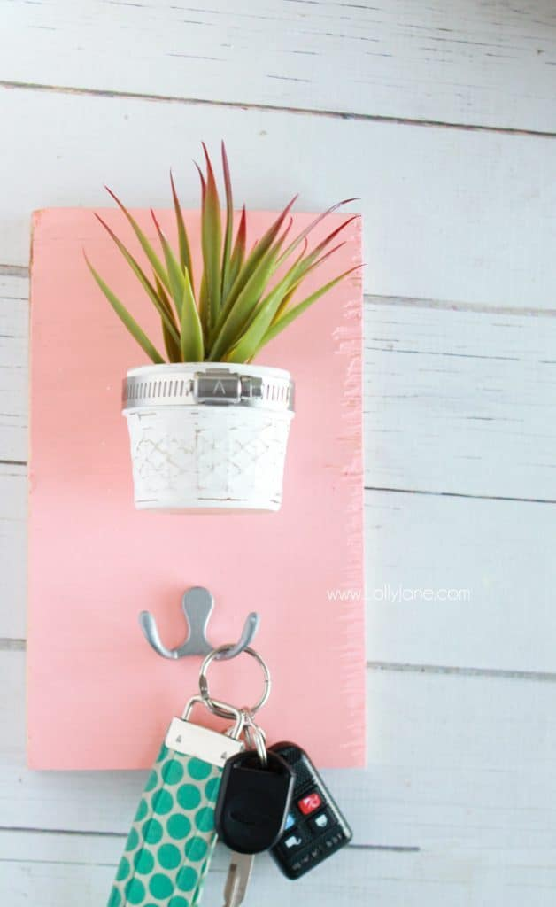 Key Holder Board with Fake Mini Plant