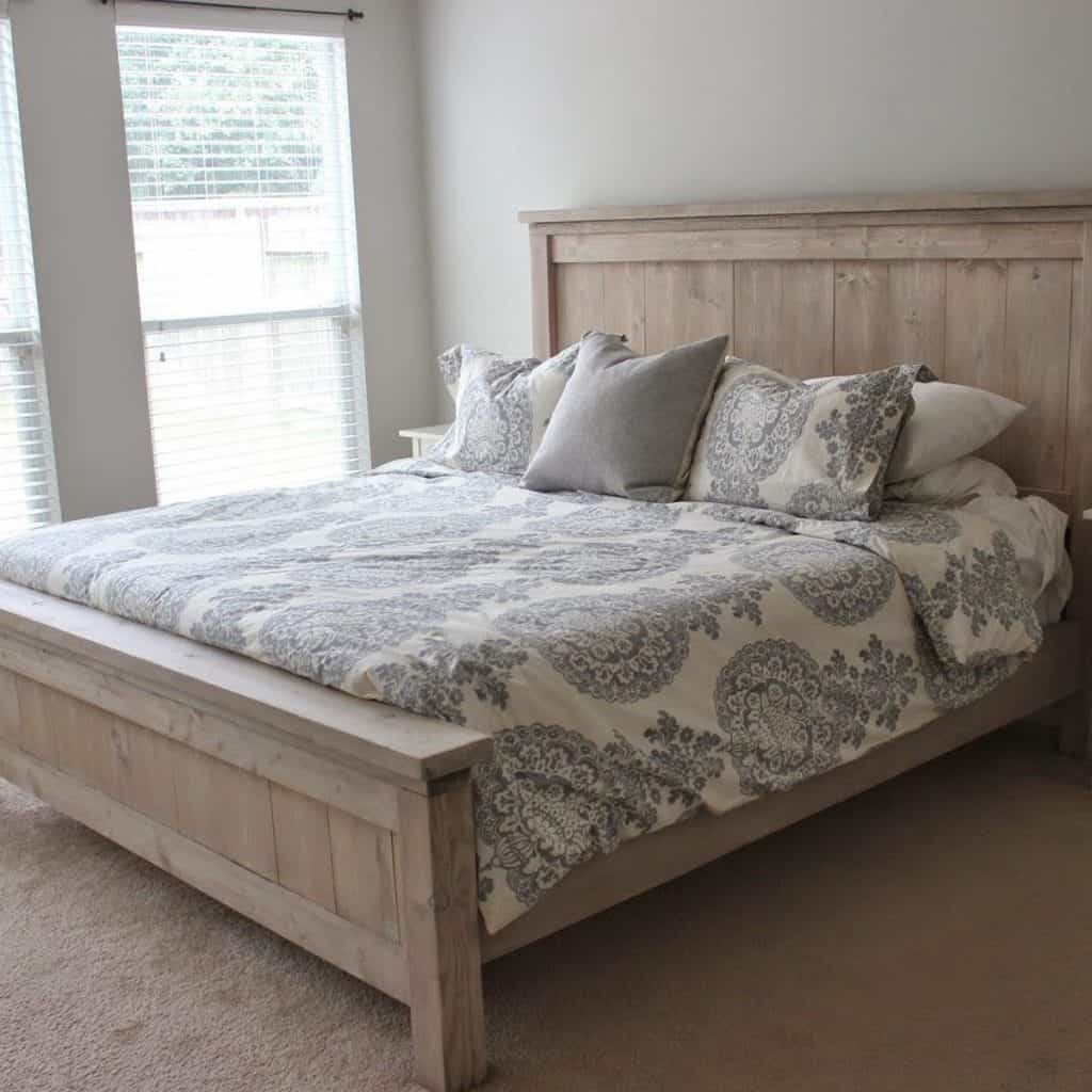 Platform Bed from Stained Pinewood