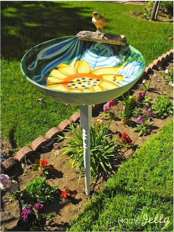 Colorful Painted Bird Bath