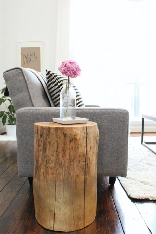 The DIY Rustic Stump Side Table