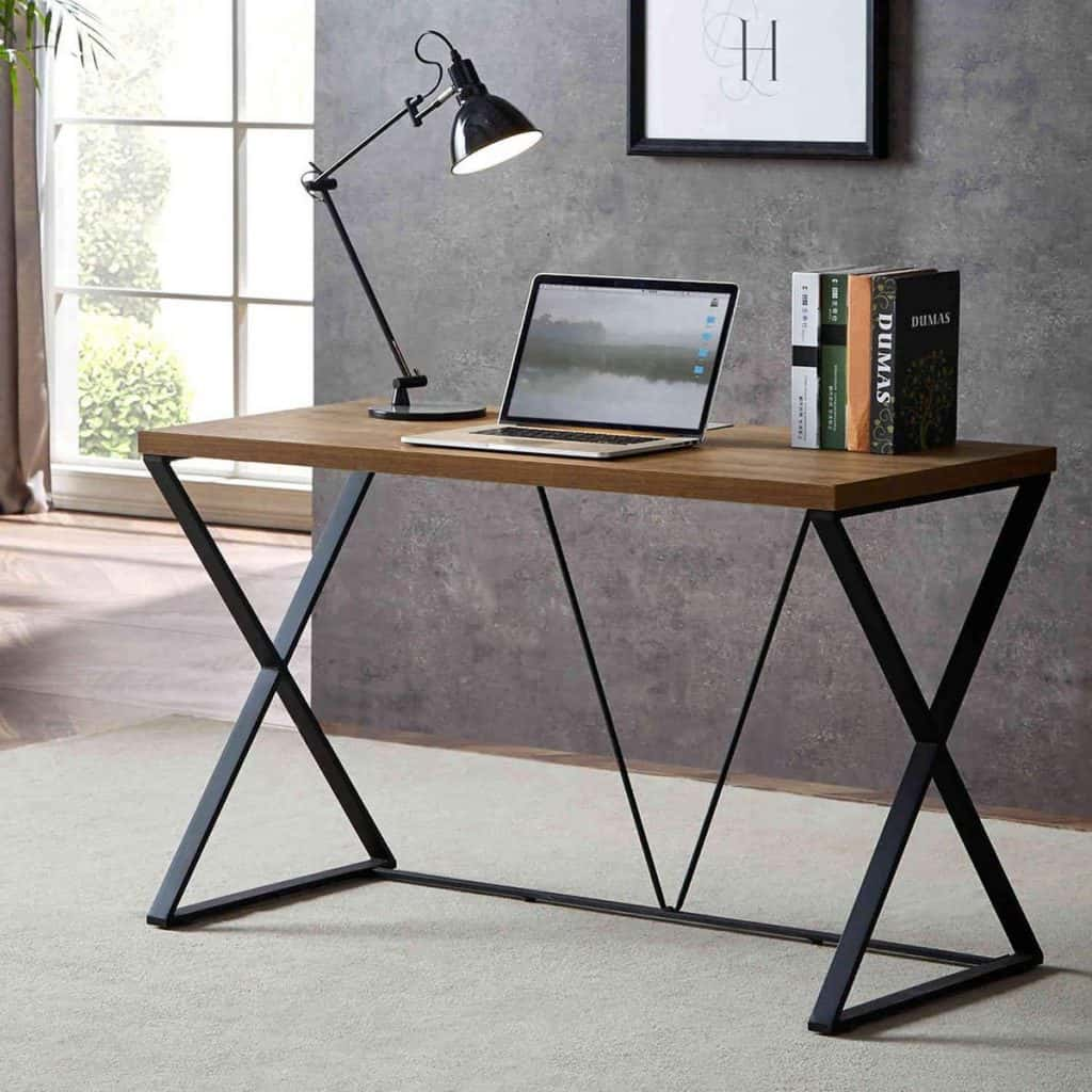 The Industrial-Themed Computer Desk with a Glance of a Rustic Element