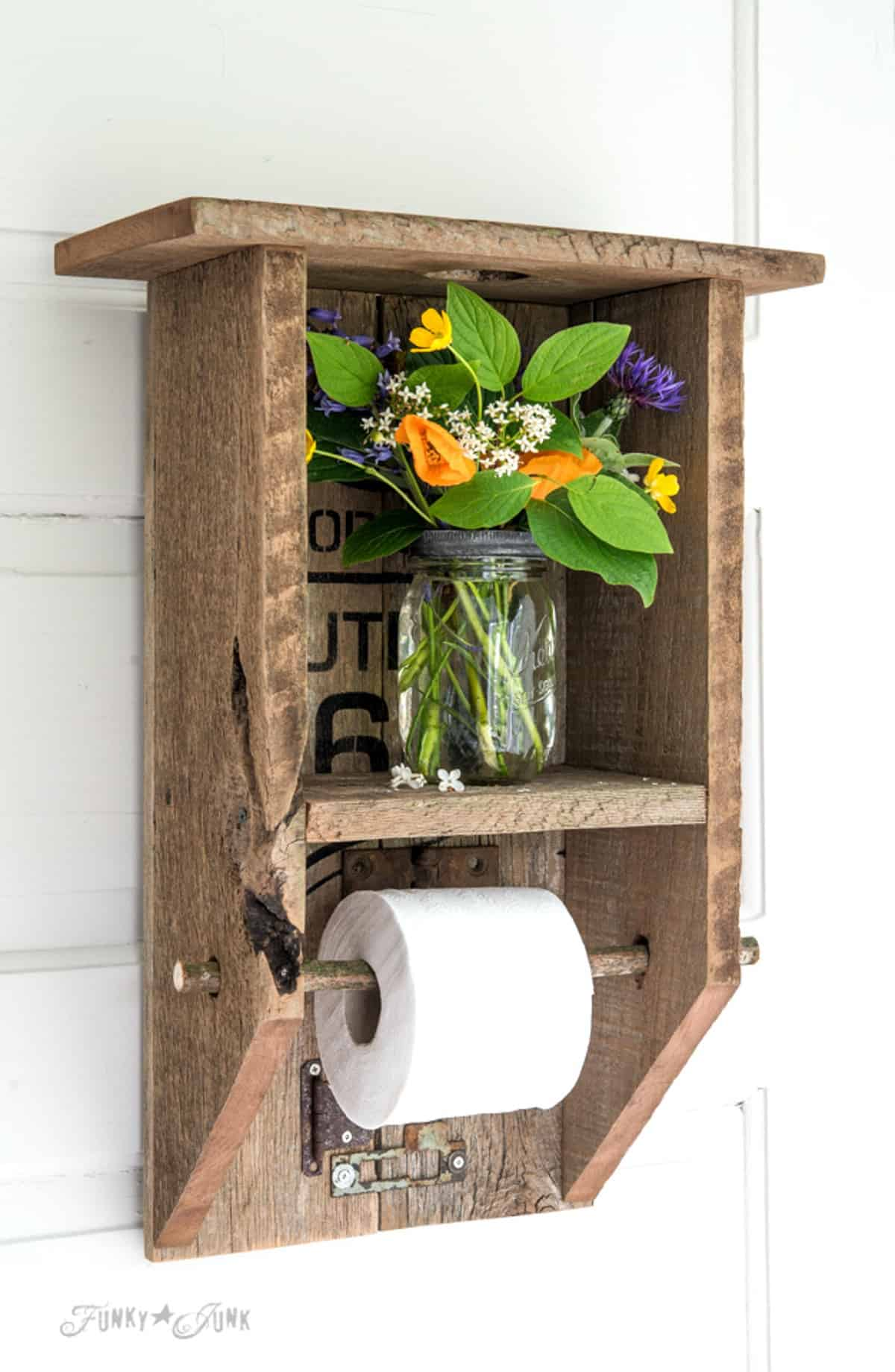 Wooden Toilet Paper Holder with Flowers