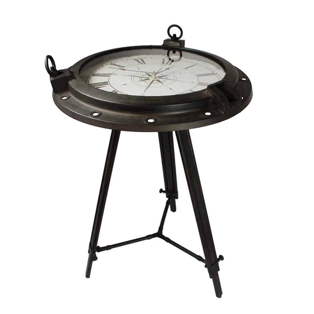 Round Clock Table with Tempered Glass