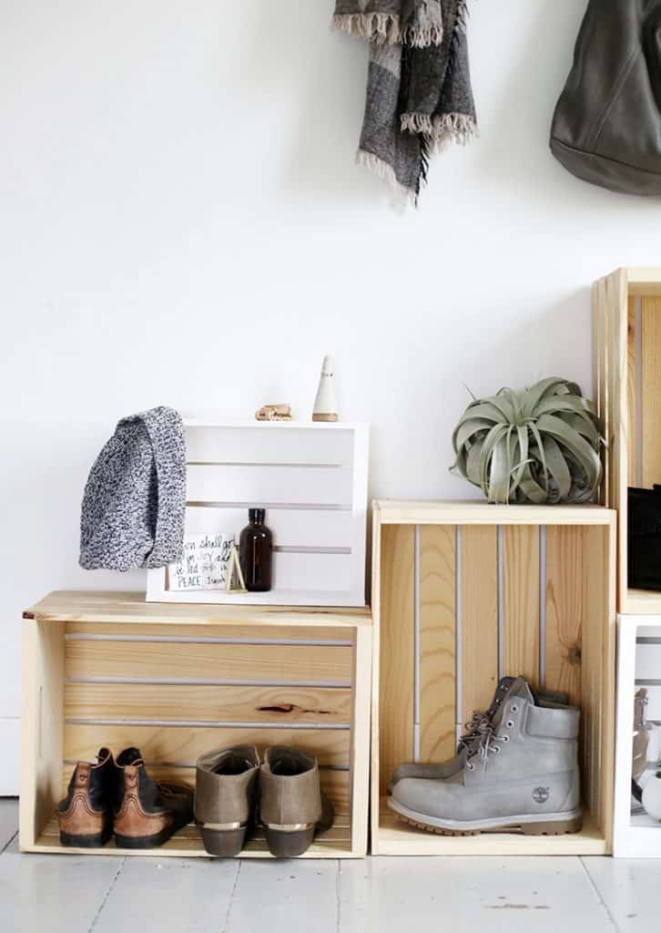 Simple Wooden Crate Shoe Organizers