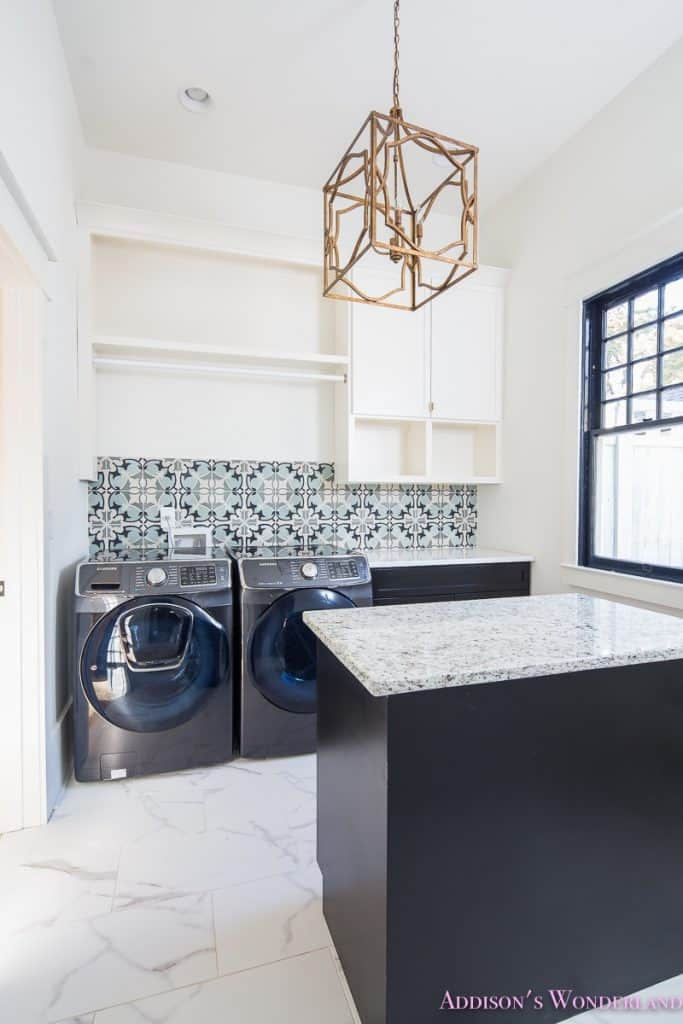 Modern Laundry Room with a Touch of Classic Lampshade