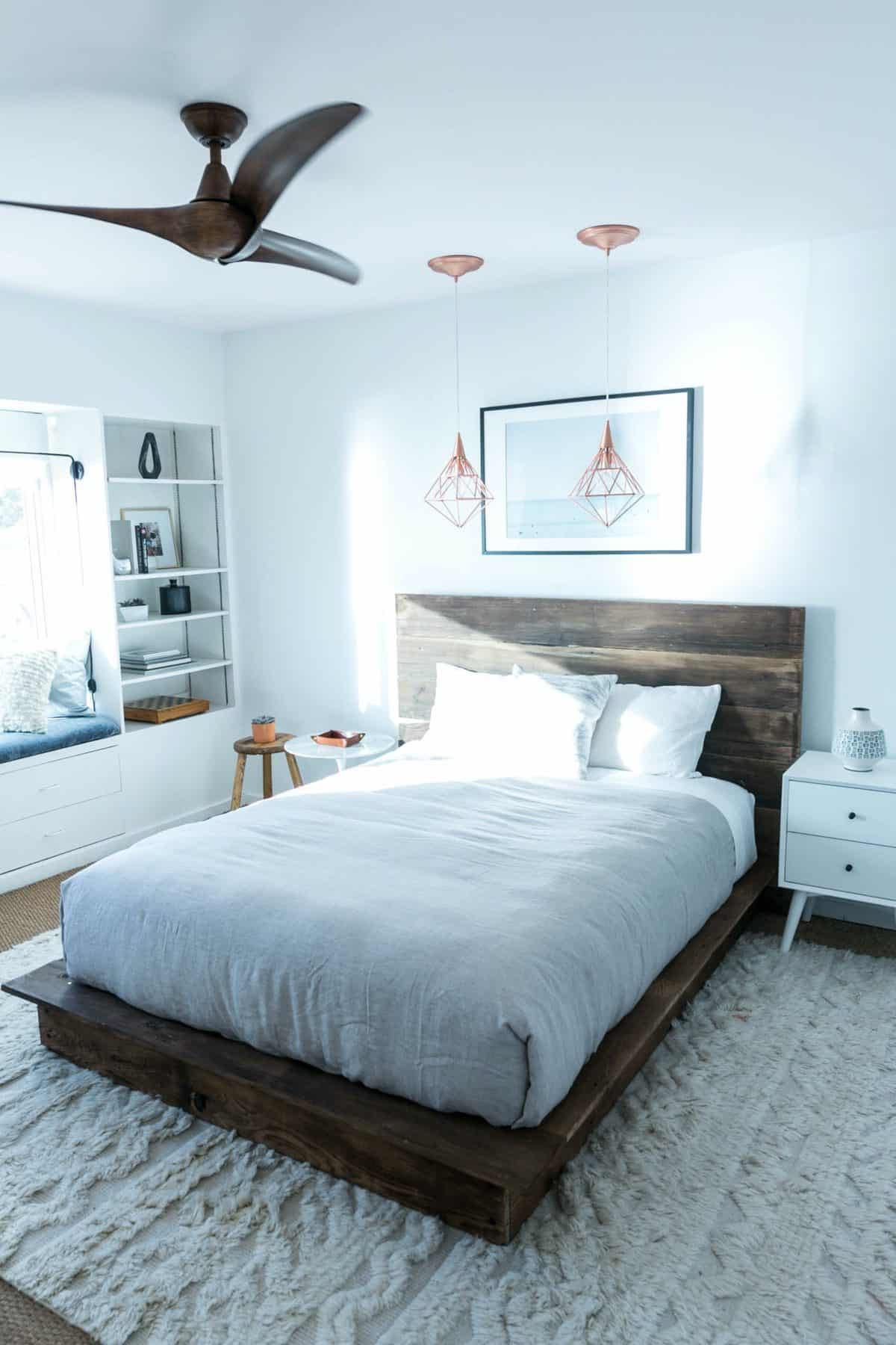 Reclaimed Wood Platform with Simple Headboard