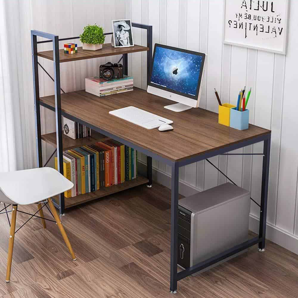 Tower Computer Desk with Additional Bookshelves