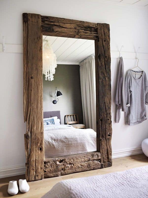 Turn It On With An Oversized Wooden Mirror