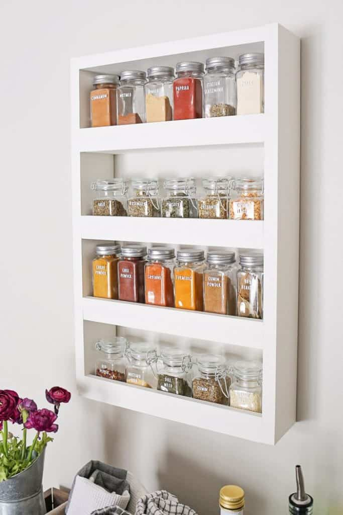 Sleek White Spice Rack