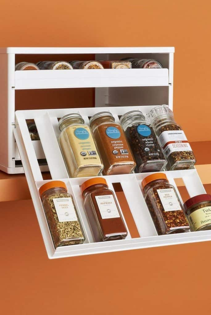 Compact, Flip-down Spice Cabinet