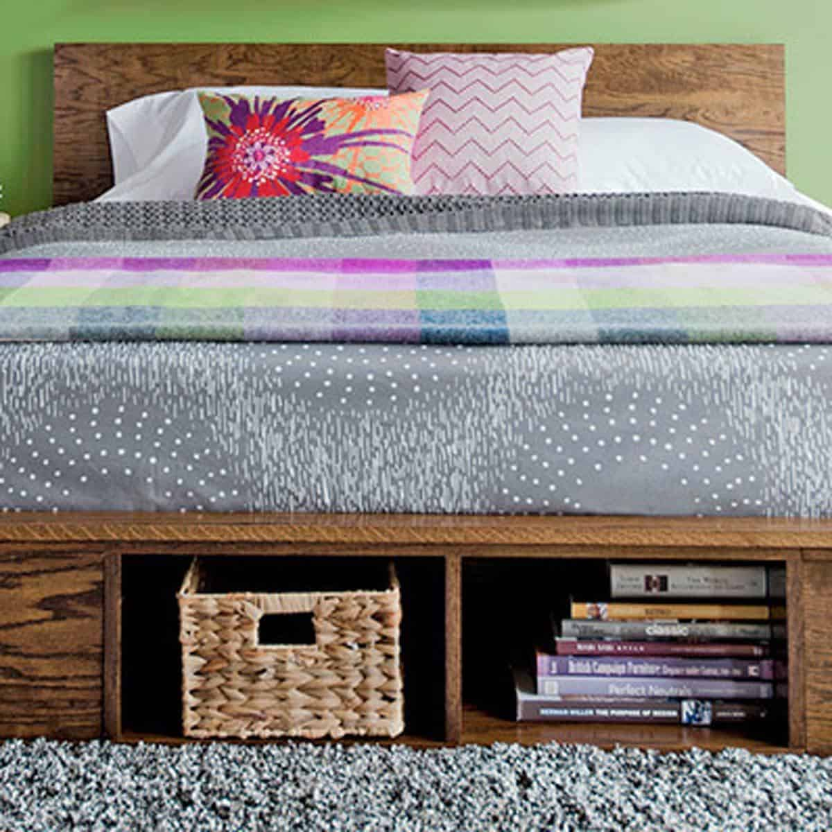 High Platform Bed with Storage Space
