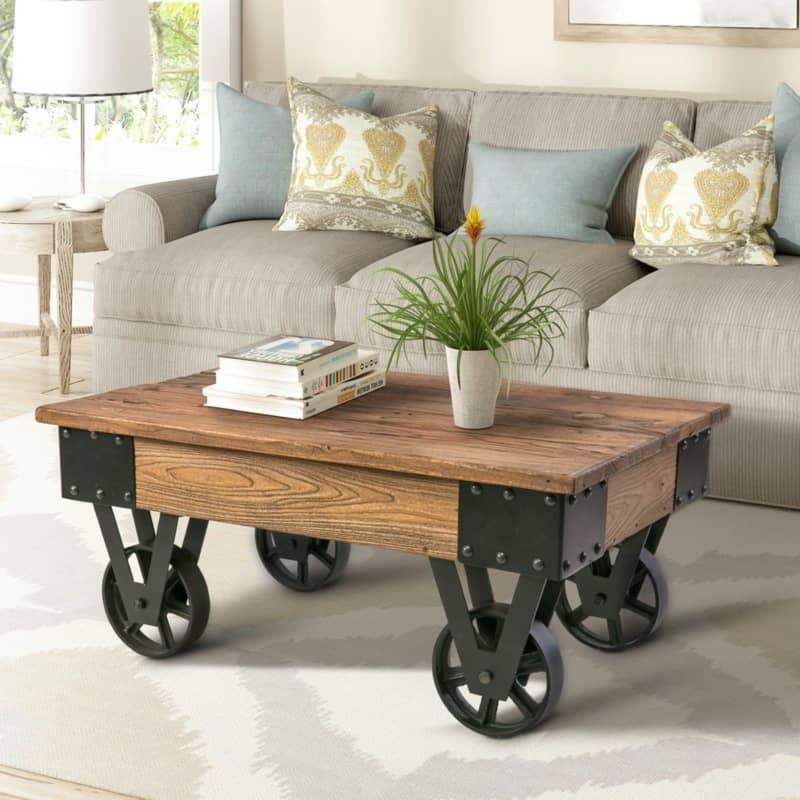Industrial Table with Vintage Metal Wheels