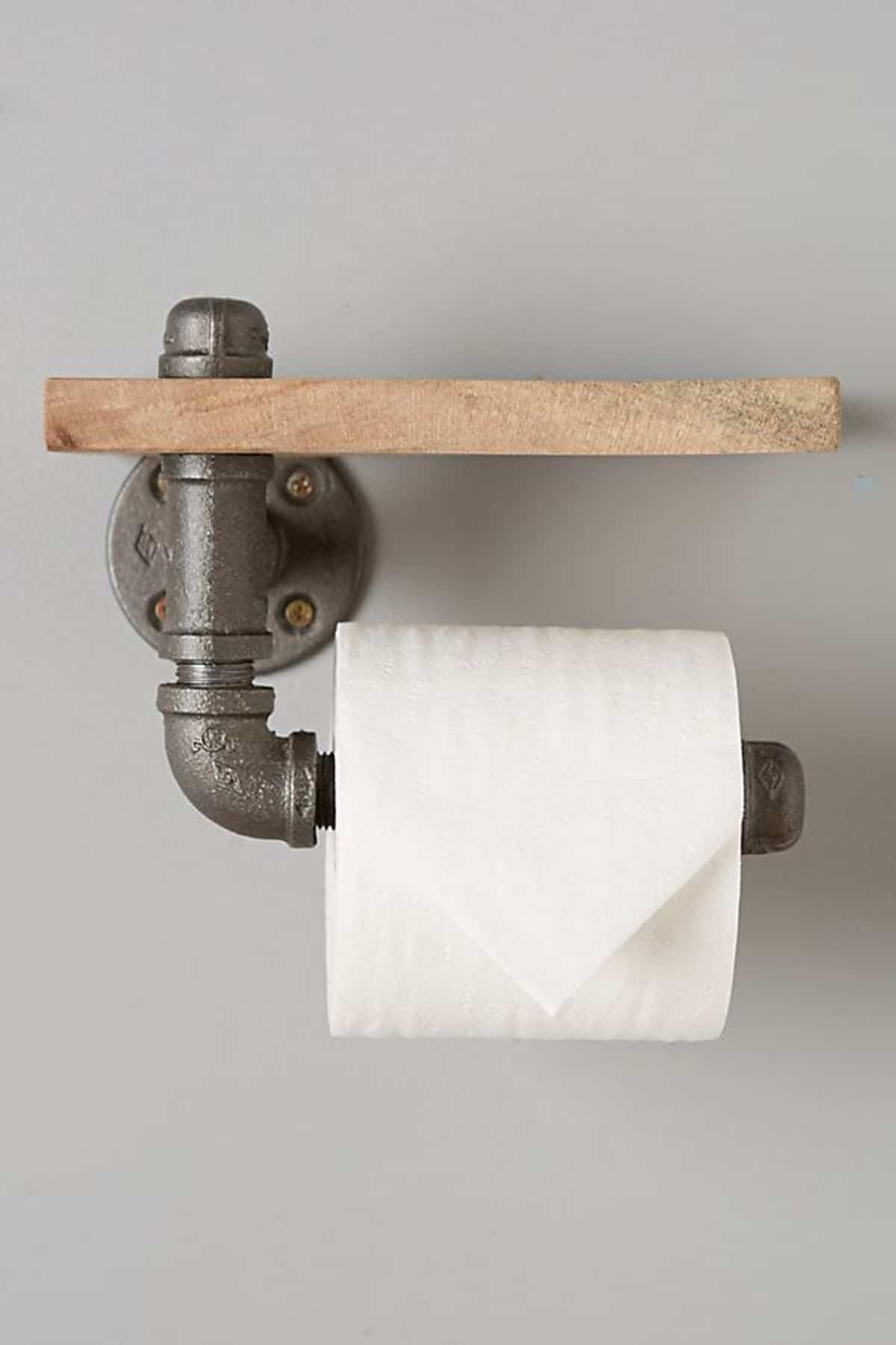 Toilet Paper Holder on Pipe