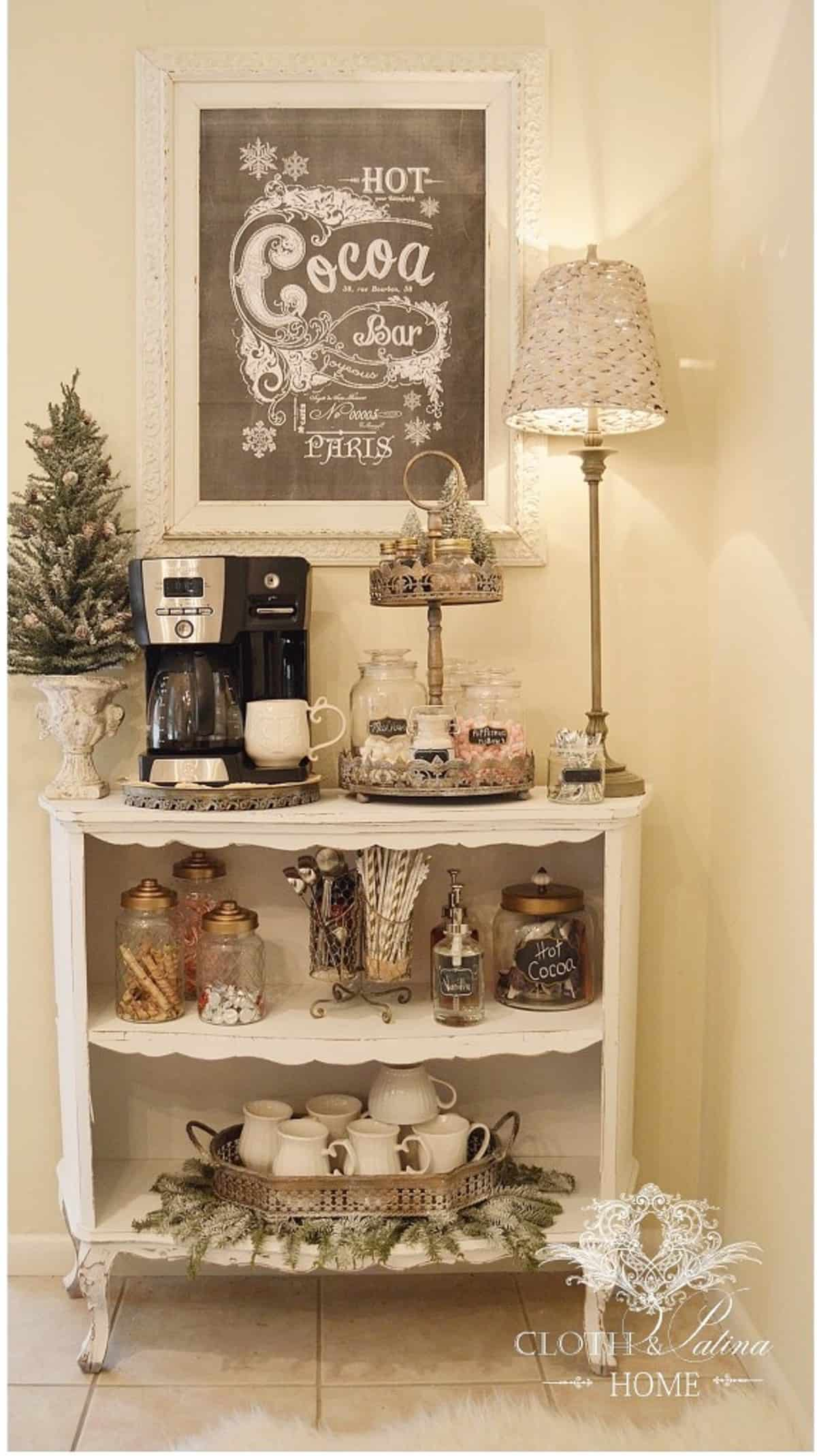 Vintage-style White Coffee Bar