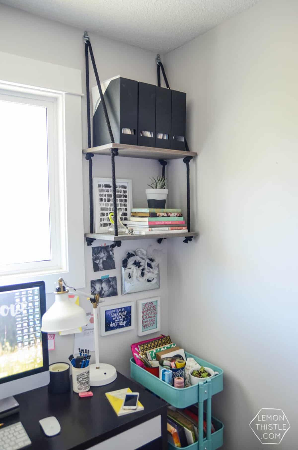 Hanging Shelves for Narrow Office