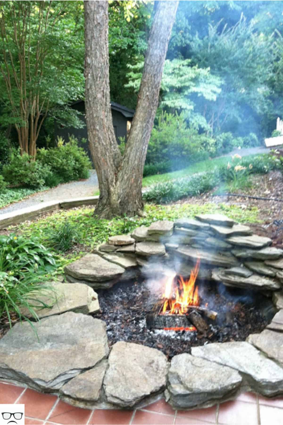Pond Transformed Into A Fire Pit