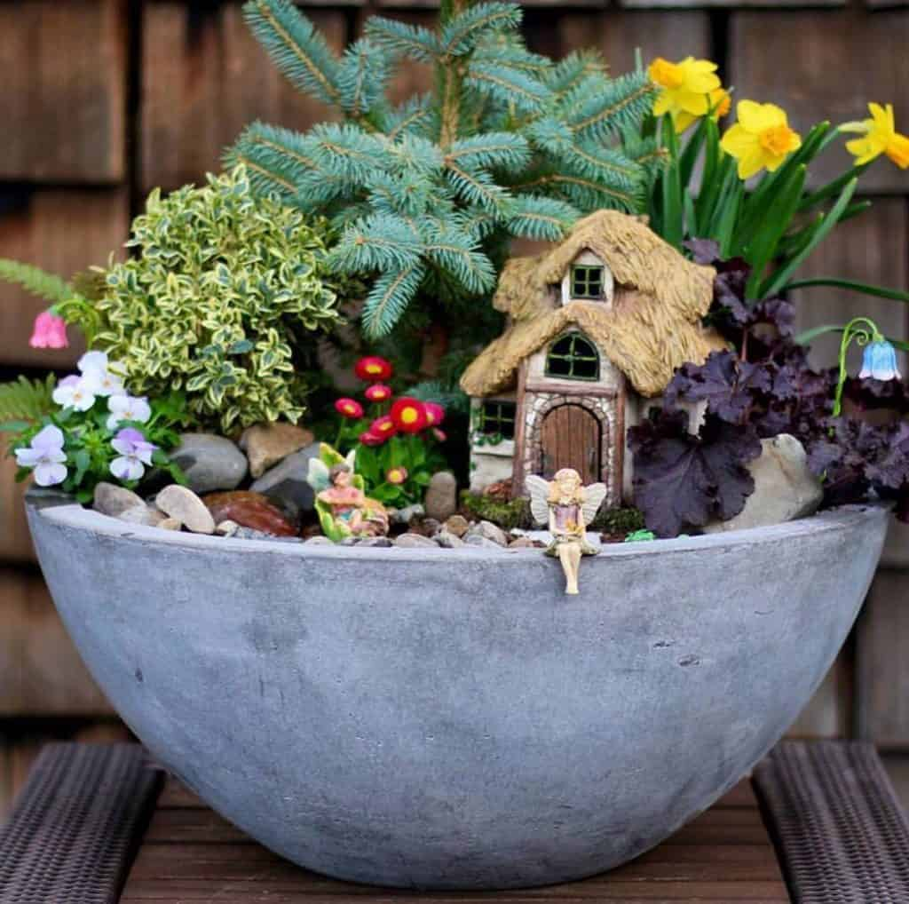 Spring Fairy Garden in Stone Pot