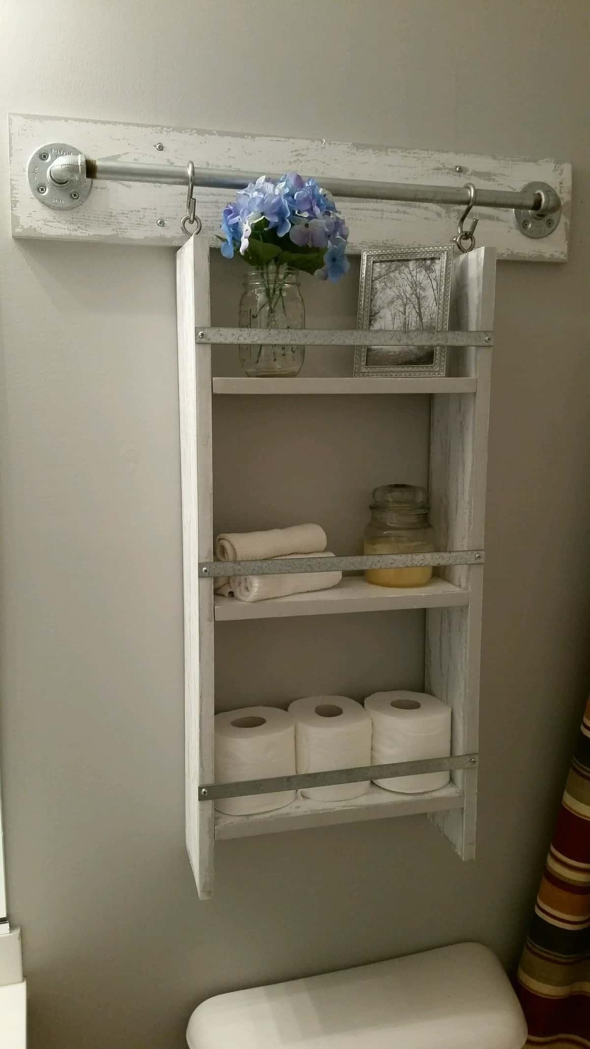 Toilet Paper Holder with Organizer Shelf