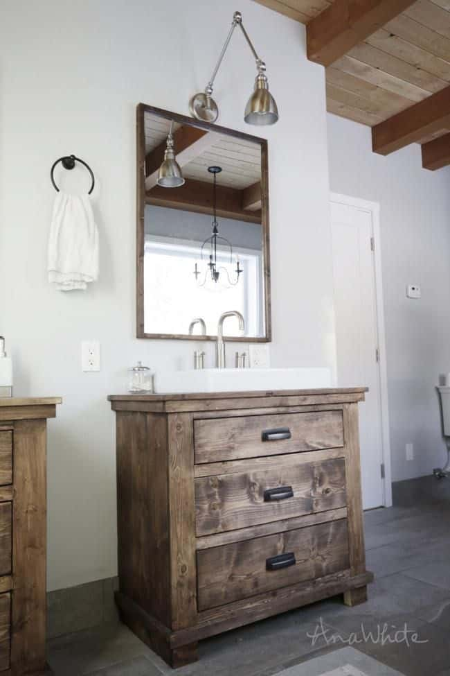 Natural Wooden Rustic Bathroom Vanity (by. ana-white.com)